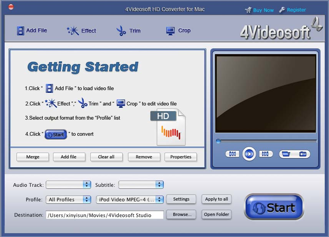 4Videosoft HD Converter for Mac Screenshot