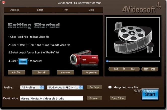 4Videosoft HD Converter for Mac Screenshot 2