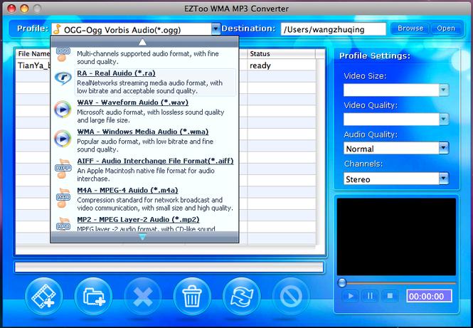 Eztoo WMA MP3 Converter for MAC Screenshot
