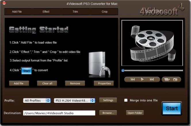 4Videosoft PS3 Converter for Mac Screenshot 2