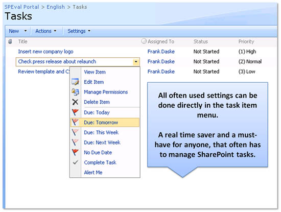Enhanced SharePoint User Tasks Menu Screenshot 1
