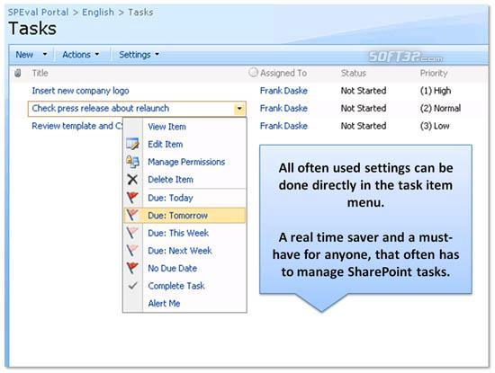 Enhanced SharePoint User Tasks Menu Screenshot 3