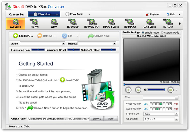 Dicsoft DVD to XBox Converter Screenshot 1