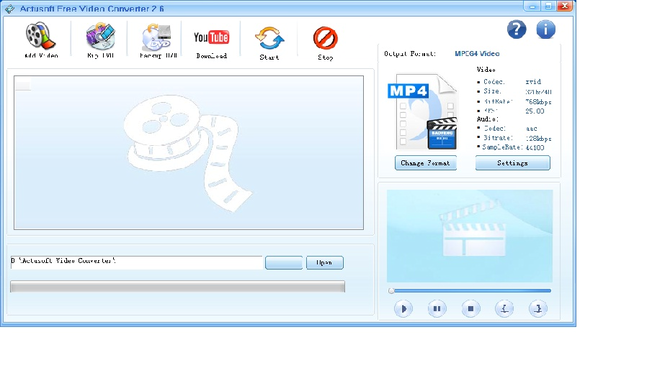Actusoft Free Video Converter Screenshot