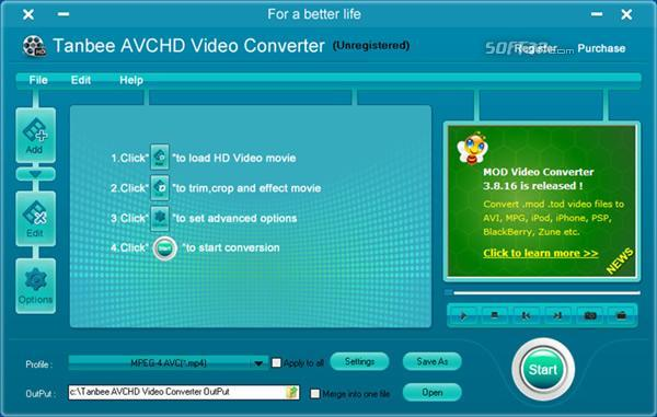 Tanbee AVCHD Video Converter Screenshot