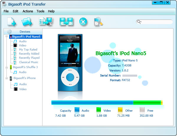 Bigasoft iPod Transfer Screenshot 3