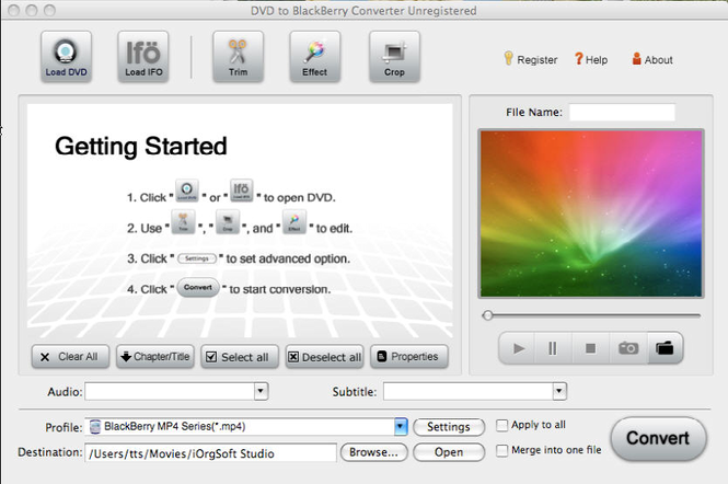 iOrgSoft DVD to BlackBerry Converter for Mac Screenshot