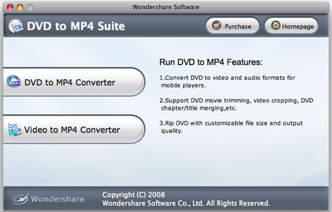 Wondershare DVD to MP4 Suite for Mac Screenshot