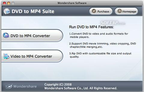 Wondershare DVD to MP4 Suite for Mac Screenshot 2