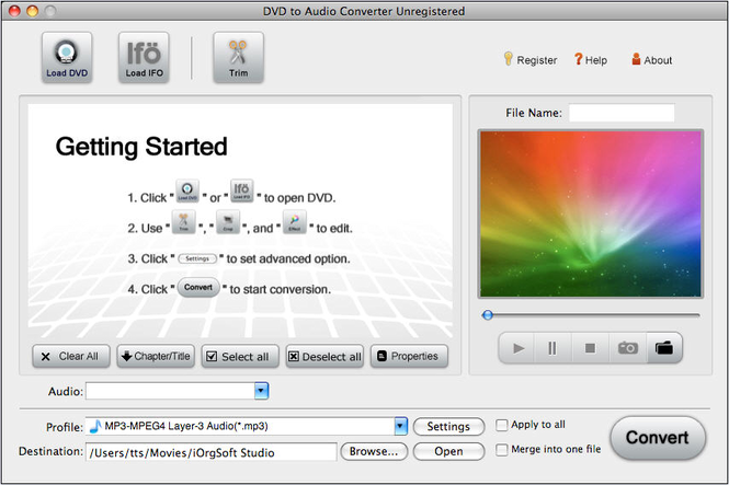 DVD to Audio Converter for Mac Screenshot