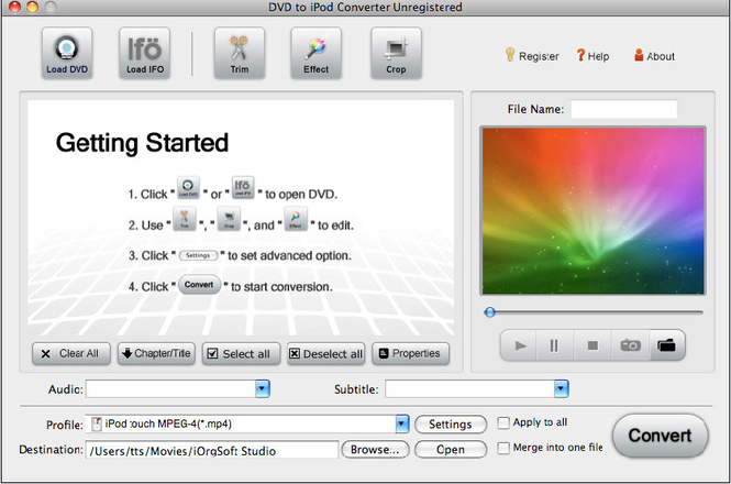 DVD to iPod Converter for Mac Screenshot