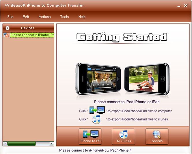 4Videosoft iPhone to Computer Transfer Screenshot