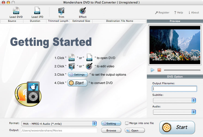 Wondershare DVD to iPod Converter for Mac Screenshot 1