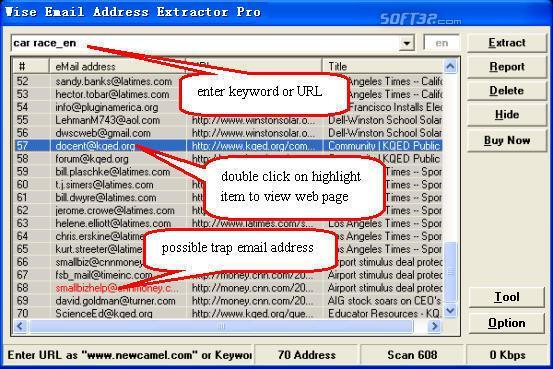 Wise Email Address Extractor Pro Screenshot
