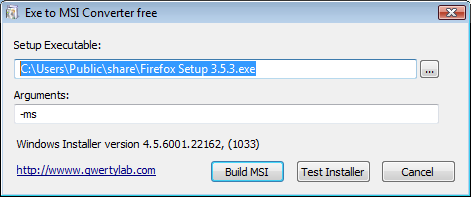 Exe to Msi Converter free Screenshot