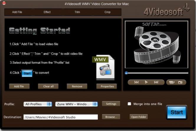4Videosoft WMV Video Converter for Mac Screenshot 2