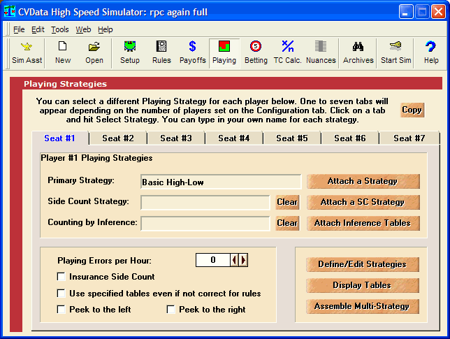 CVData Blackjack Simulator Screenshot