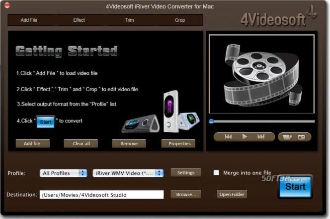 4Videosoft Mac iRiver Video Converter Screenshot 2