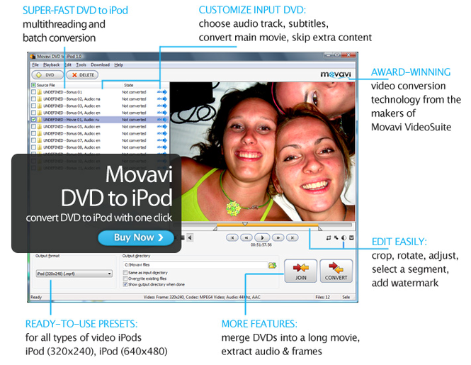 Movavi DVD to iPod Screenshot 1