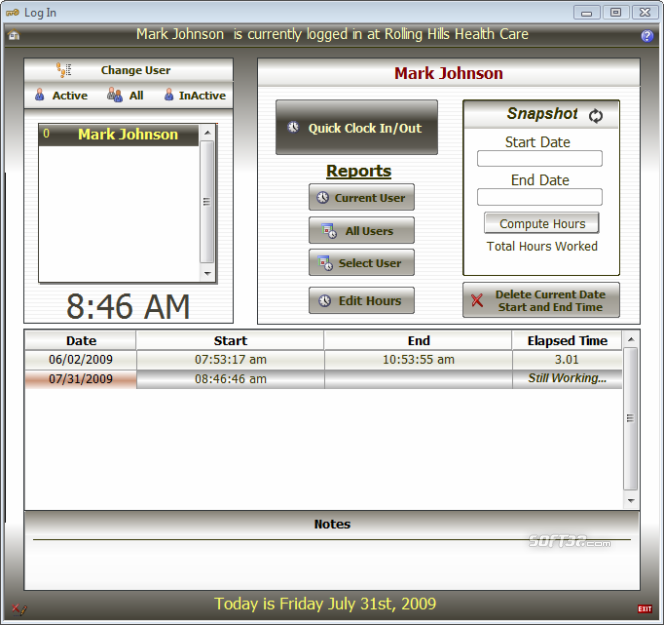 HealthSoft Time Clock Screenshot