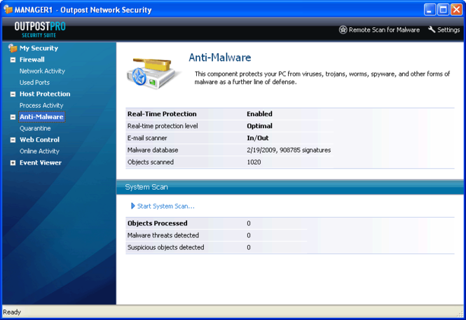 Agnitum Outpost Network Security Screenshot
