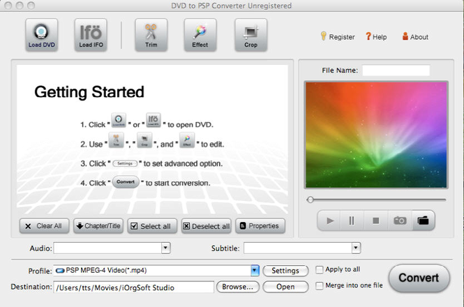 DVD to PSP Converter for Mac Screenshot