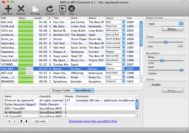 MIDI to MP3 Converter for Mac Screenshot 1