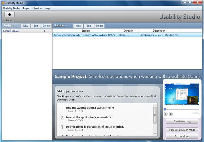 Usability Studio Screenshot 2