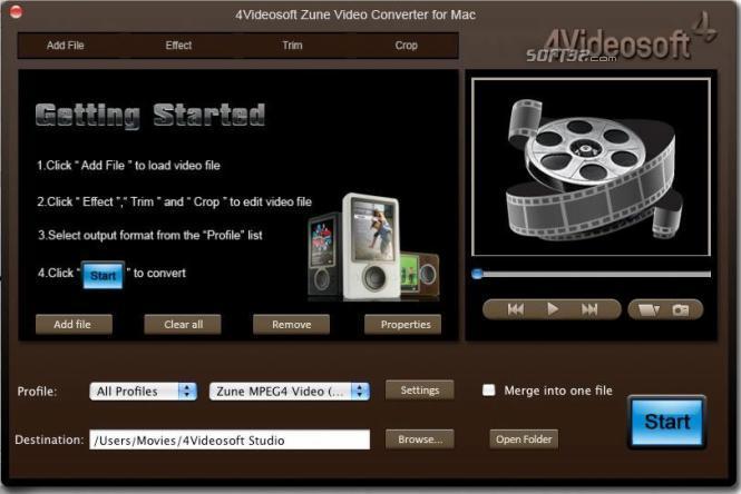 4Videosoft Zune Video Converter for Mac Screenshot 3