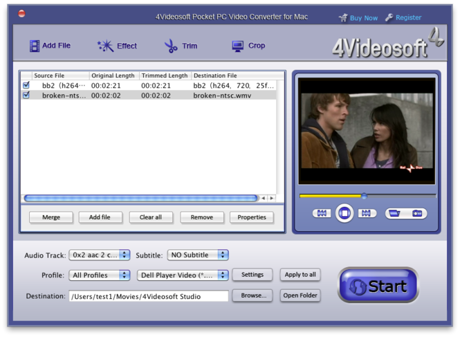 4Videosoft Mac Pocket PC Video Converter Screenshot 1