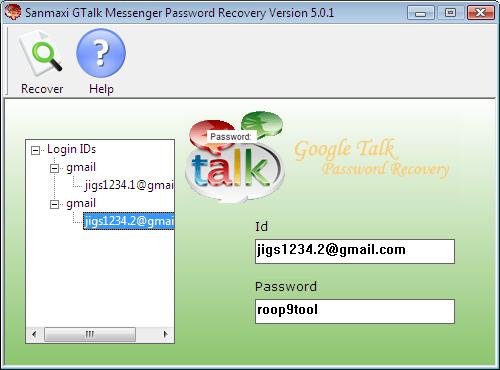 Google Talk passwords Decoder Screenshot