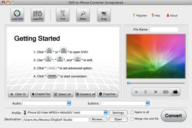 DVD to iPhone Converter for Mac Screenshot