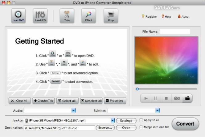DVD to iPhone Converter for Mac Screenshot 2