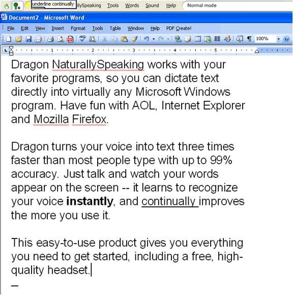 Nuance Dragon NaturallySpeaking Screenshot 1