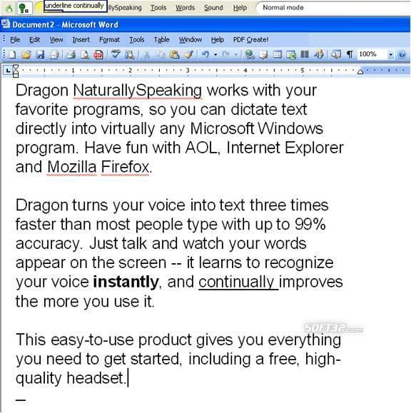 Nuance Dragon NaturallySpeaking Screenshot 2