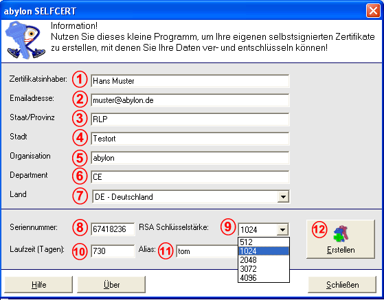 abylon SELFCERT Screenshot 1