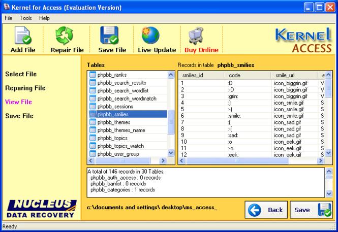 Access Repair Tool Screenshot
