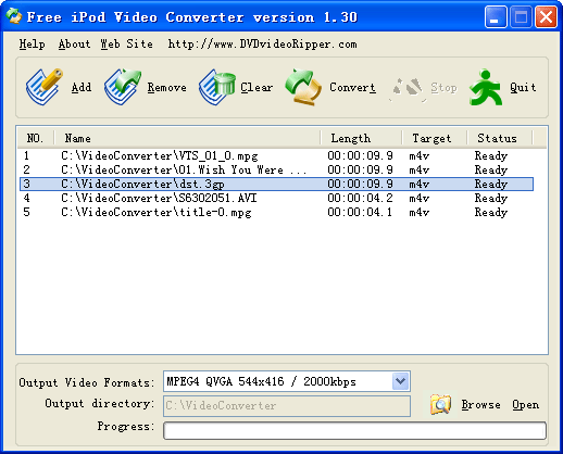 DVDvideoRipper Free iPod Video Converter Screenshot