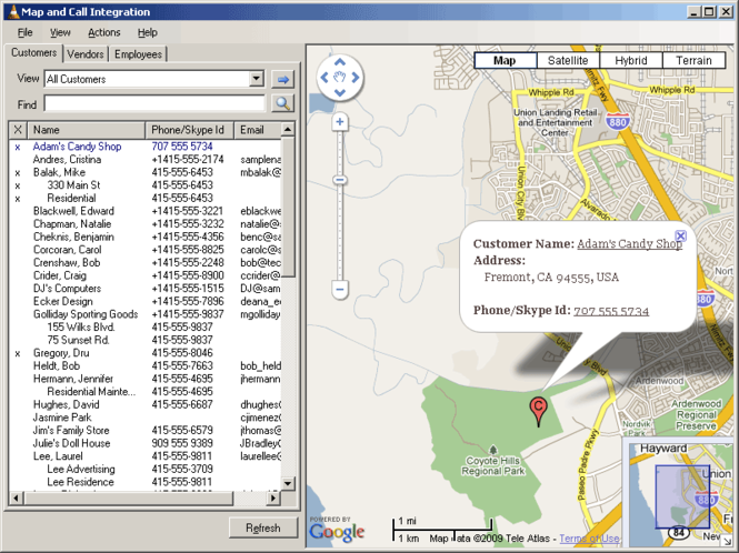 Map and Call Integration Screenshot