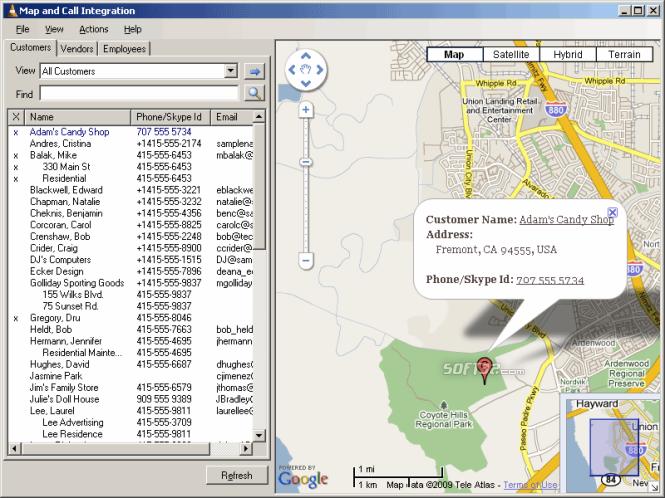 Map and Call Integration Screenshot 2