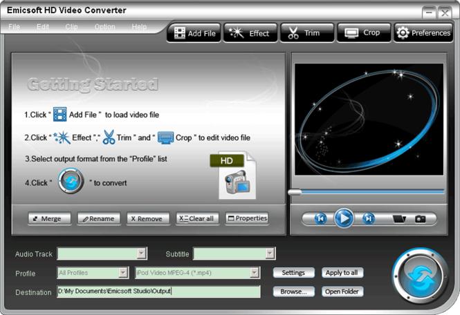Emicsoft HD Video Converter Screenshot 1