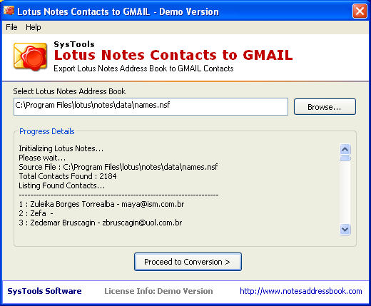 SysTools Lotus Notes Contacts to GMAIL Screenshot