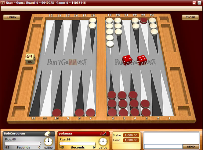 PartyGammon Backgammon Screenshot