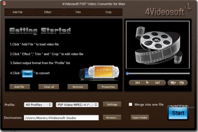 4Videosoft PSP Video Converter for Mac Screenshot 3