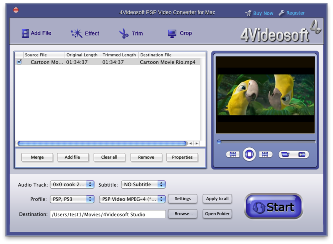 4Videosoft PSP Video Converter for Mac Screenshot