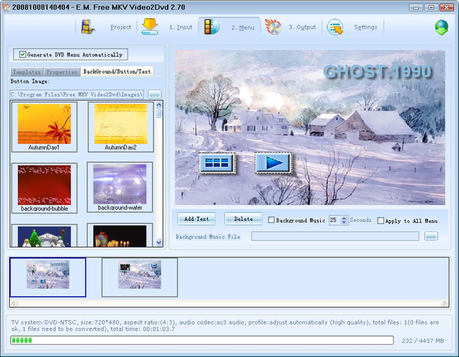 E.M. Free MKV Video2Dvd Screenshot