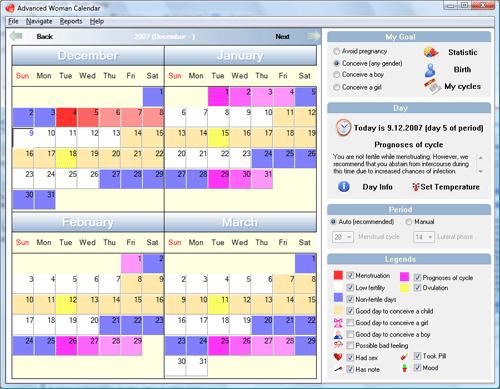 Advanced Woman Calendar Screenshot
