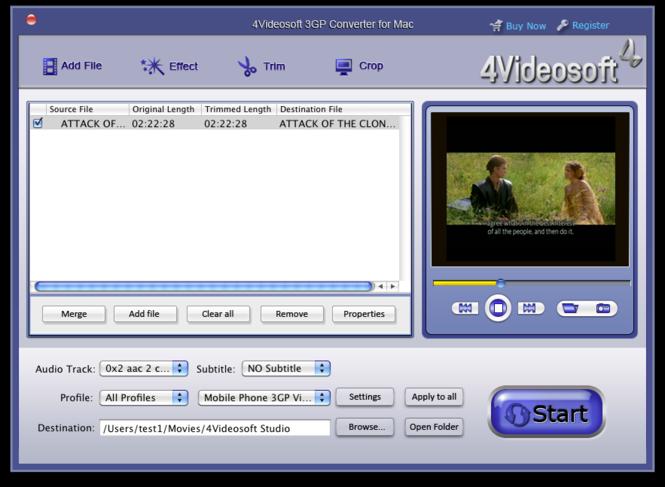 4Videosoft 3GP Converter for Mac Screenshot 1