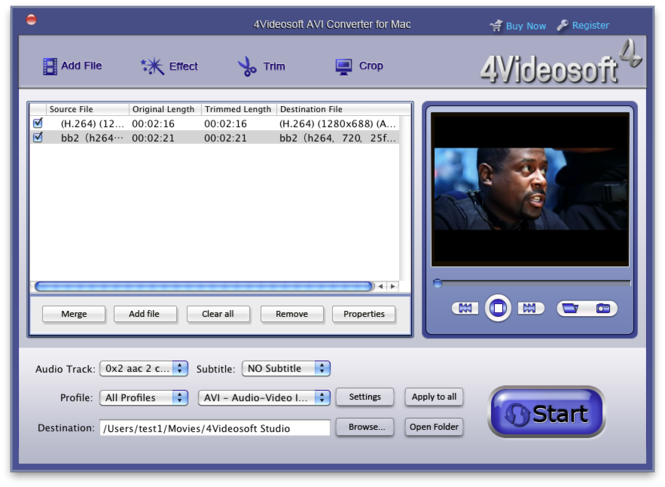 4Videosoft AVI Converter for Mac Screenshot 1