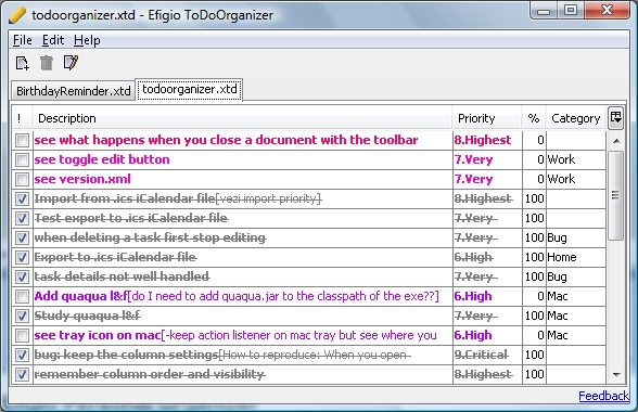 Efigio ToDo Organizer Screenshot
